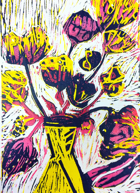 Reduction lino cut vase