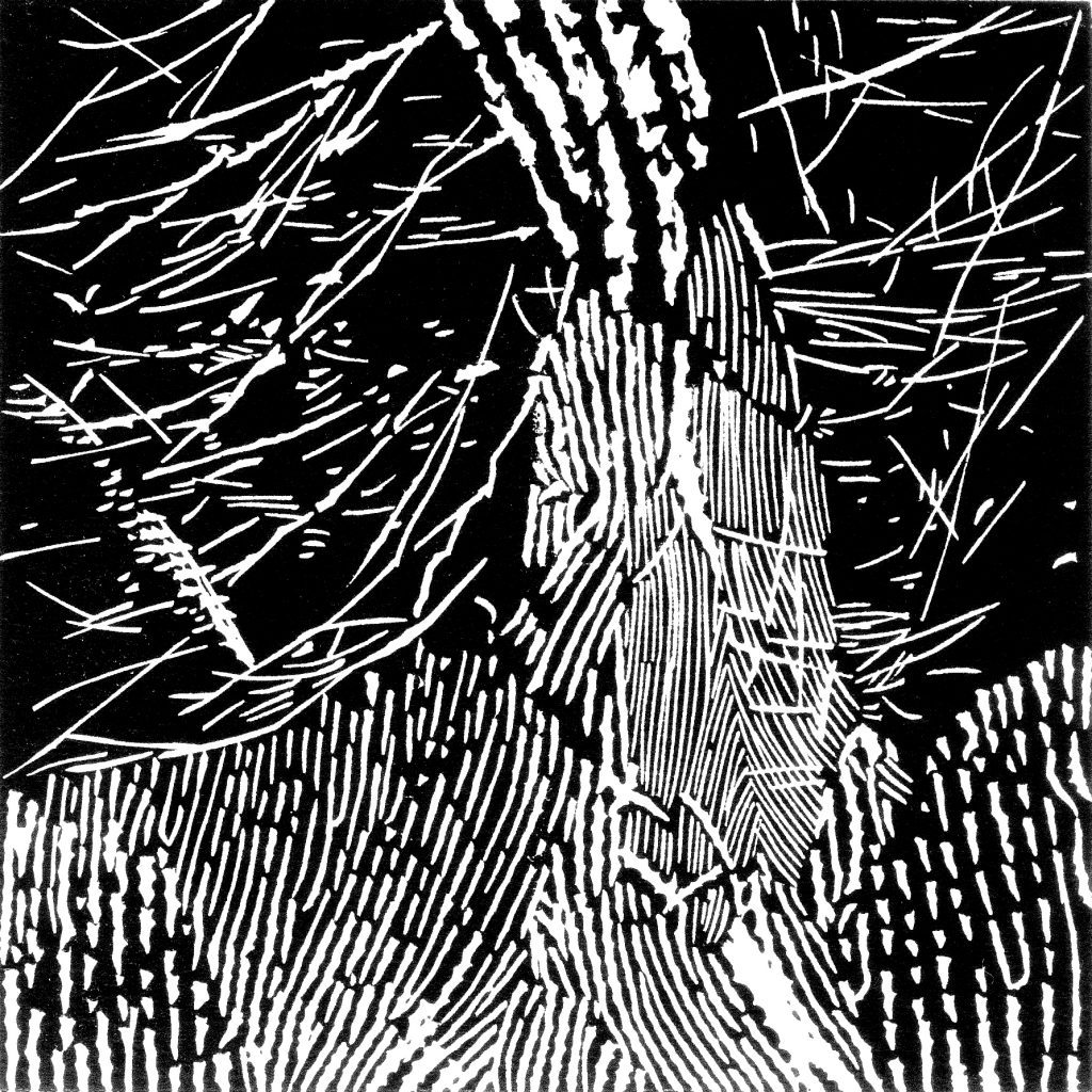 Touch of time - 48, linocut, 2009, 15 x 15 cm