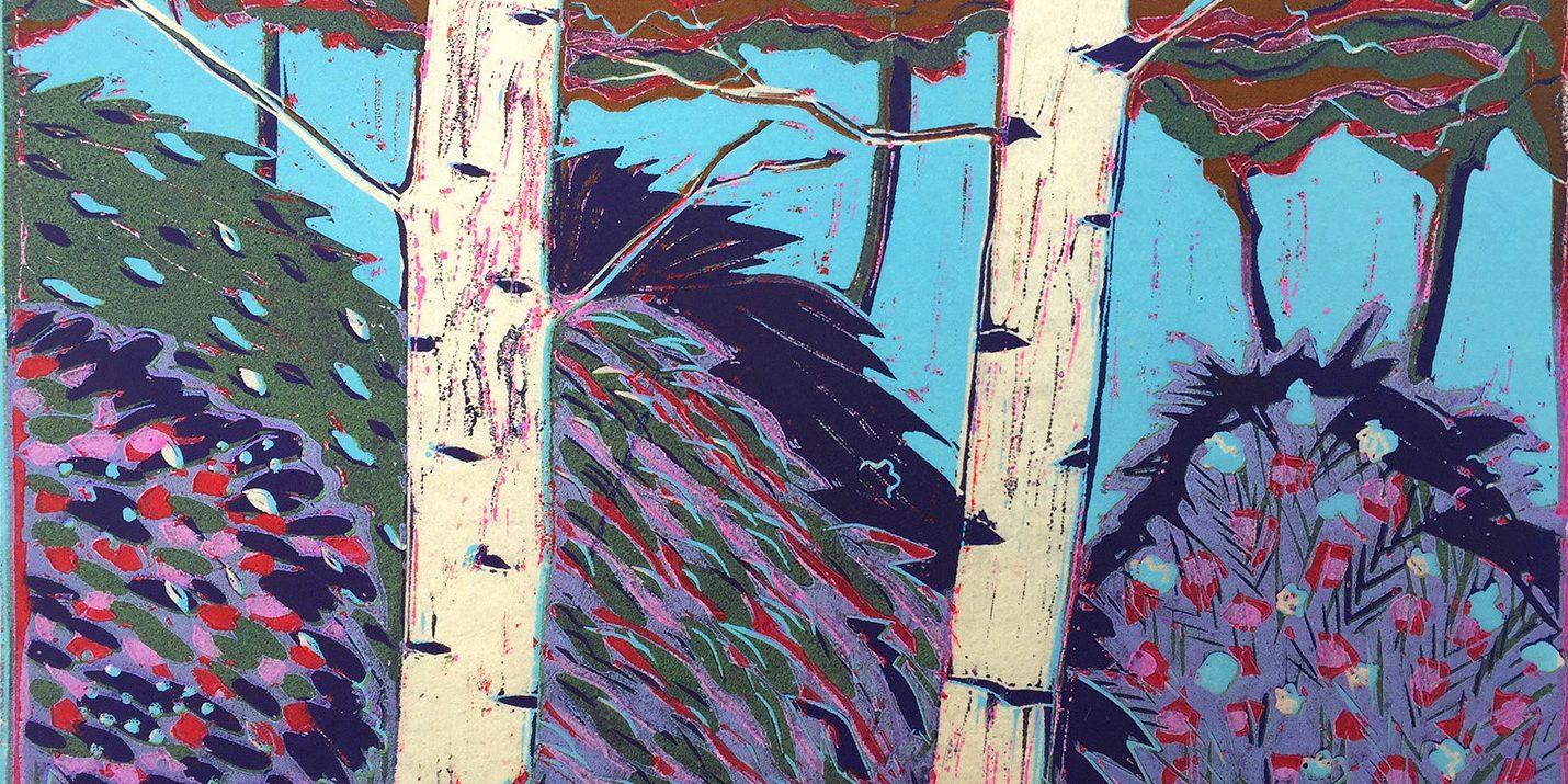 birch trees II lino